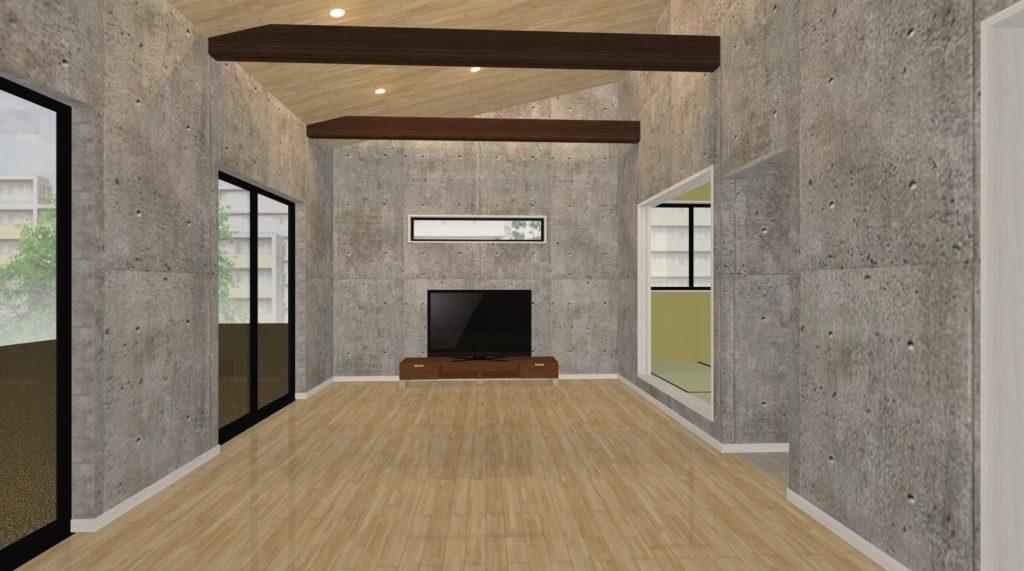 水平梁を加えた勾配天井の空間画像