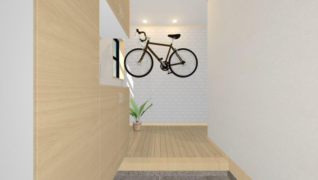 自転車を飾った玄関